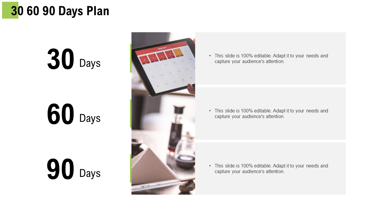 30 60 90 Day PowerPoint Diagram