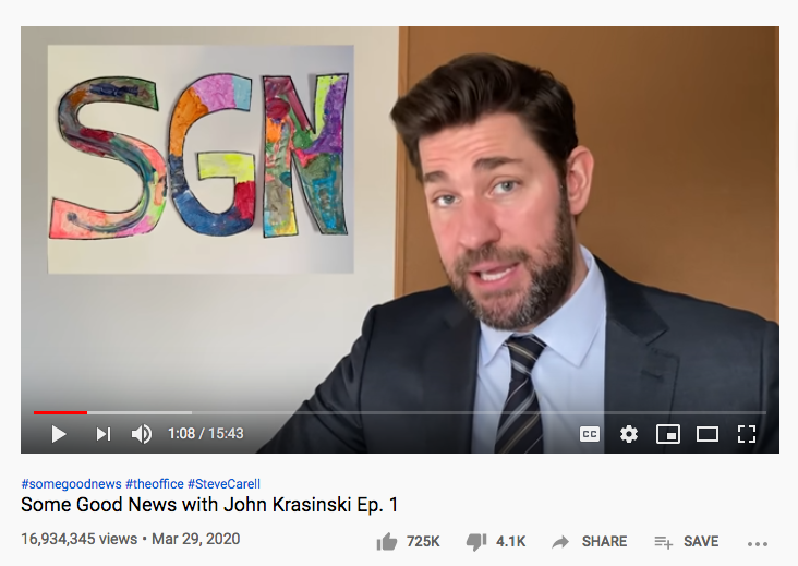 Screen shot: John Krasinski in Episode 1 of SGN — Some Good News