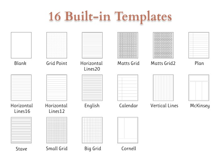 16 built-in templates