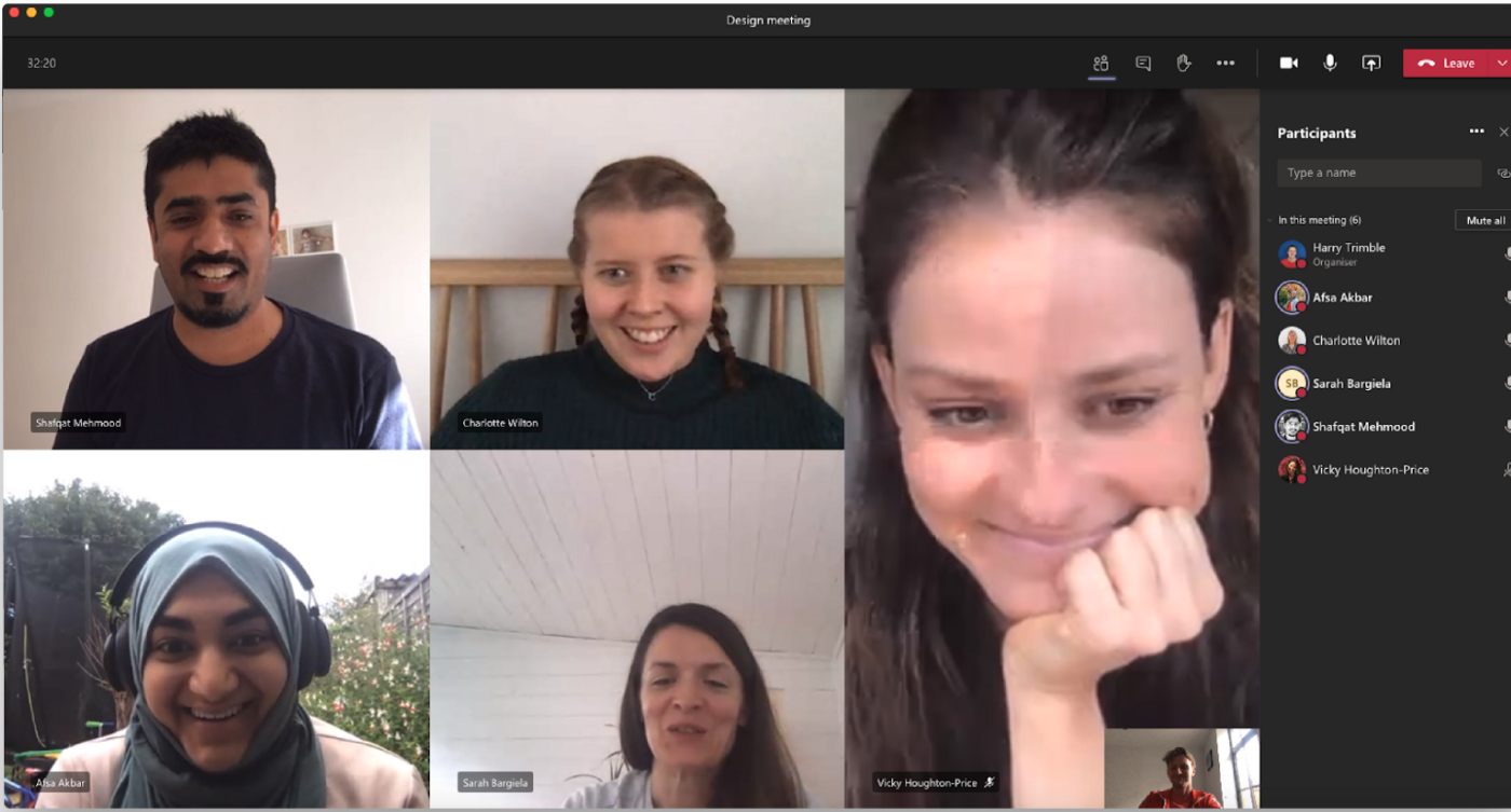 Video meeting of designers faces