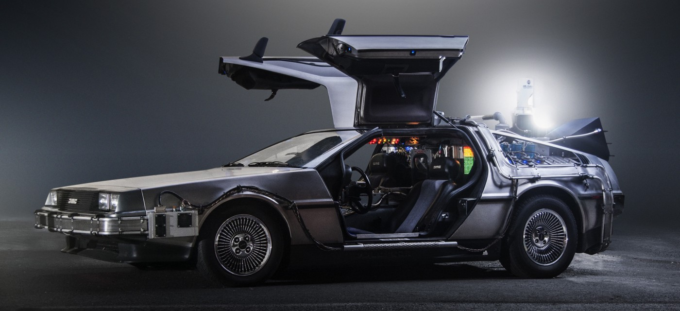An image of the DeLorean time machine from the Back to the Future movies.