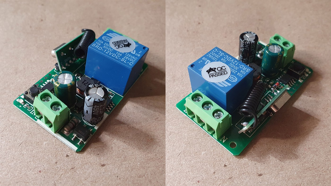 The RF relay pictured in two different angles