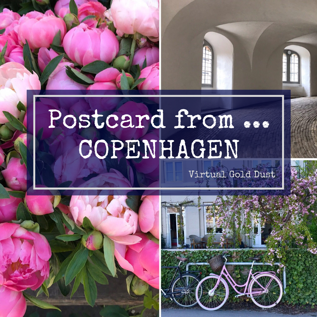 Three image collage of Copenhagen, with pink peonies, interior of Round Tower and residential building with blossom.