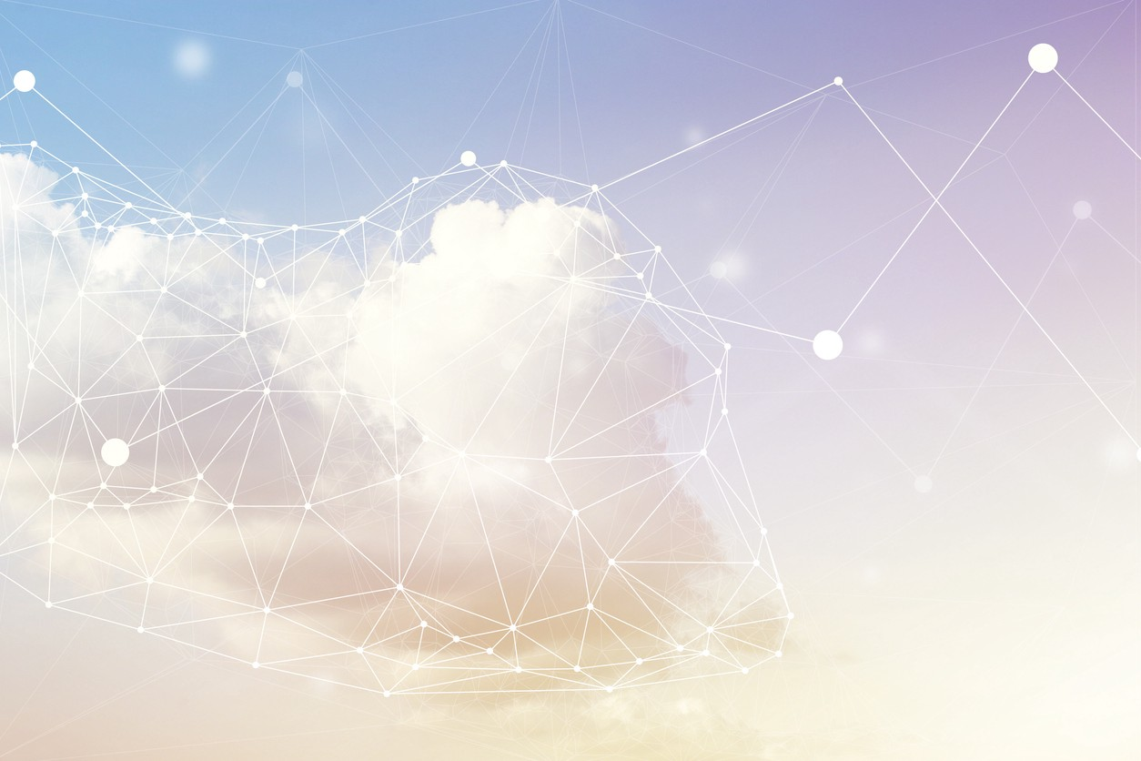 Image of a cloud with lines and dots superimposed, tracing shapes within the cloud