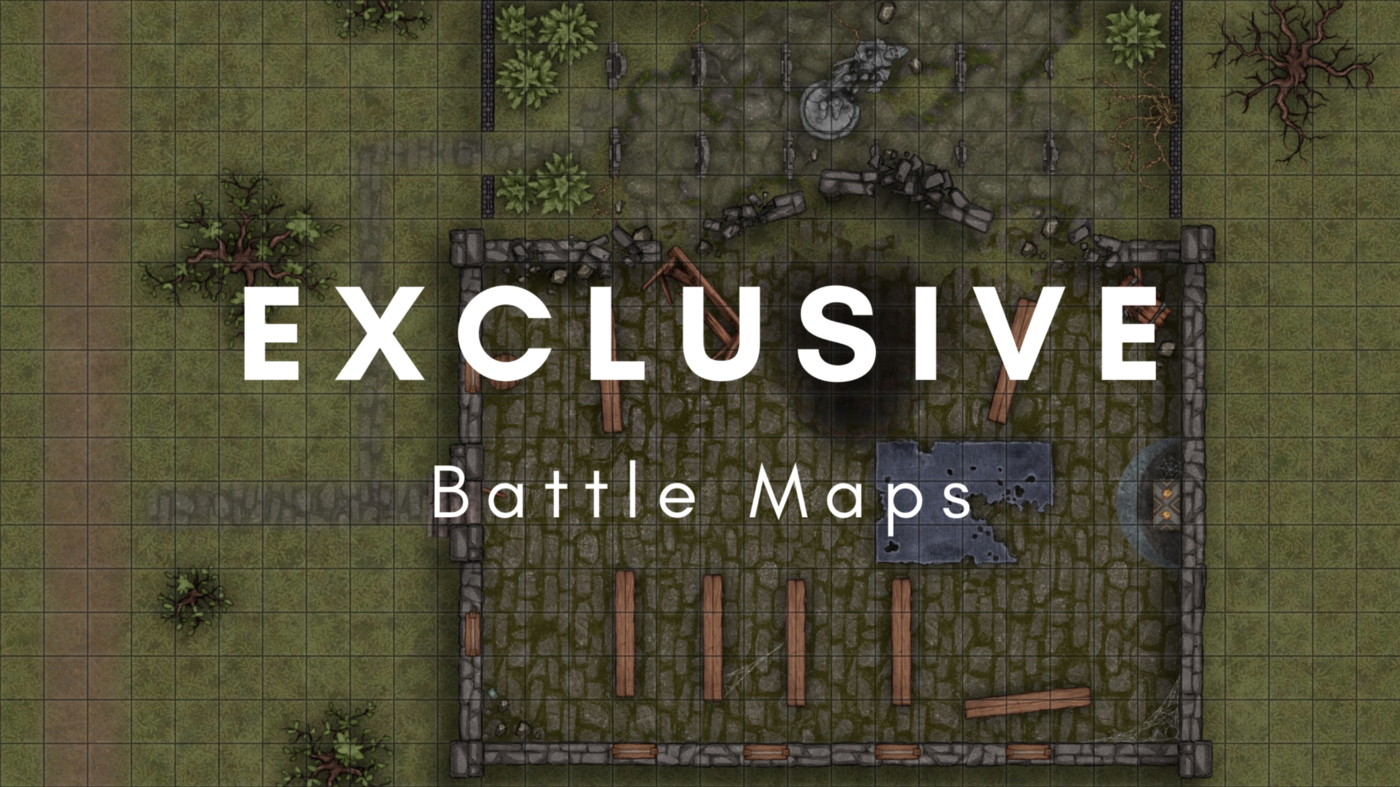 A gridded battle map of a ruined temple with the text Exclusive Battle Maps over the top.