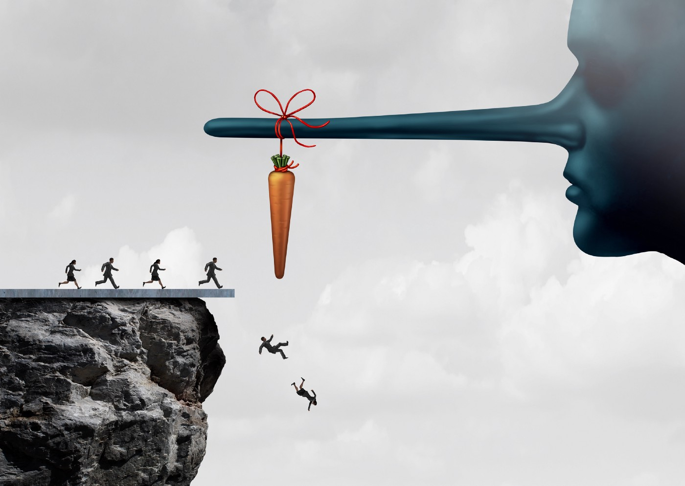 Image of people walking off a cliff