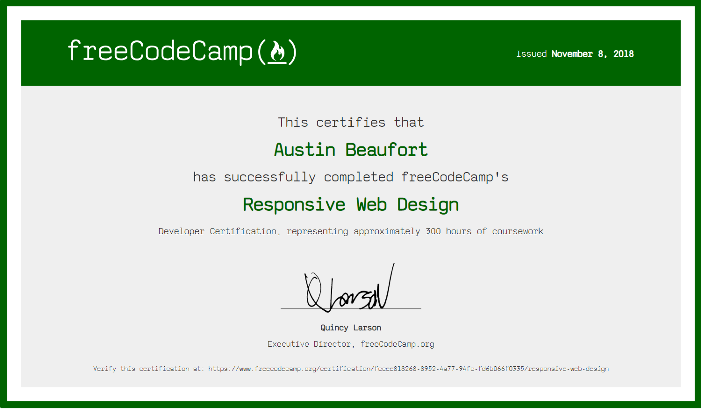 freeCodeCamp Responsive Web Design Certification.   by Austin ...