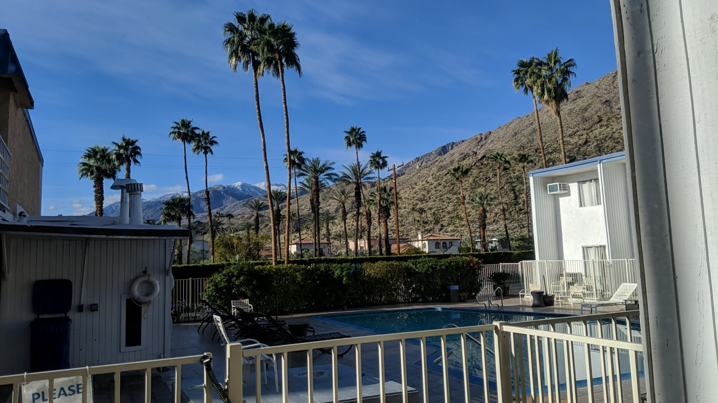 View from hotel room of palm trees and mountains in Palm Springs, California