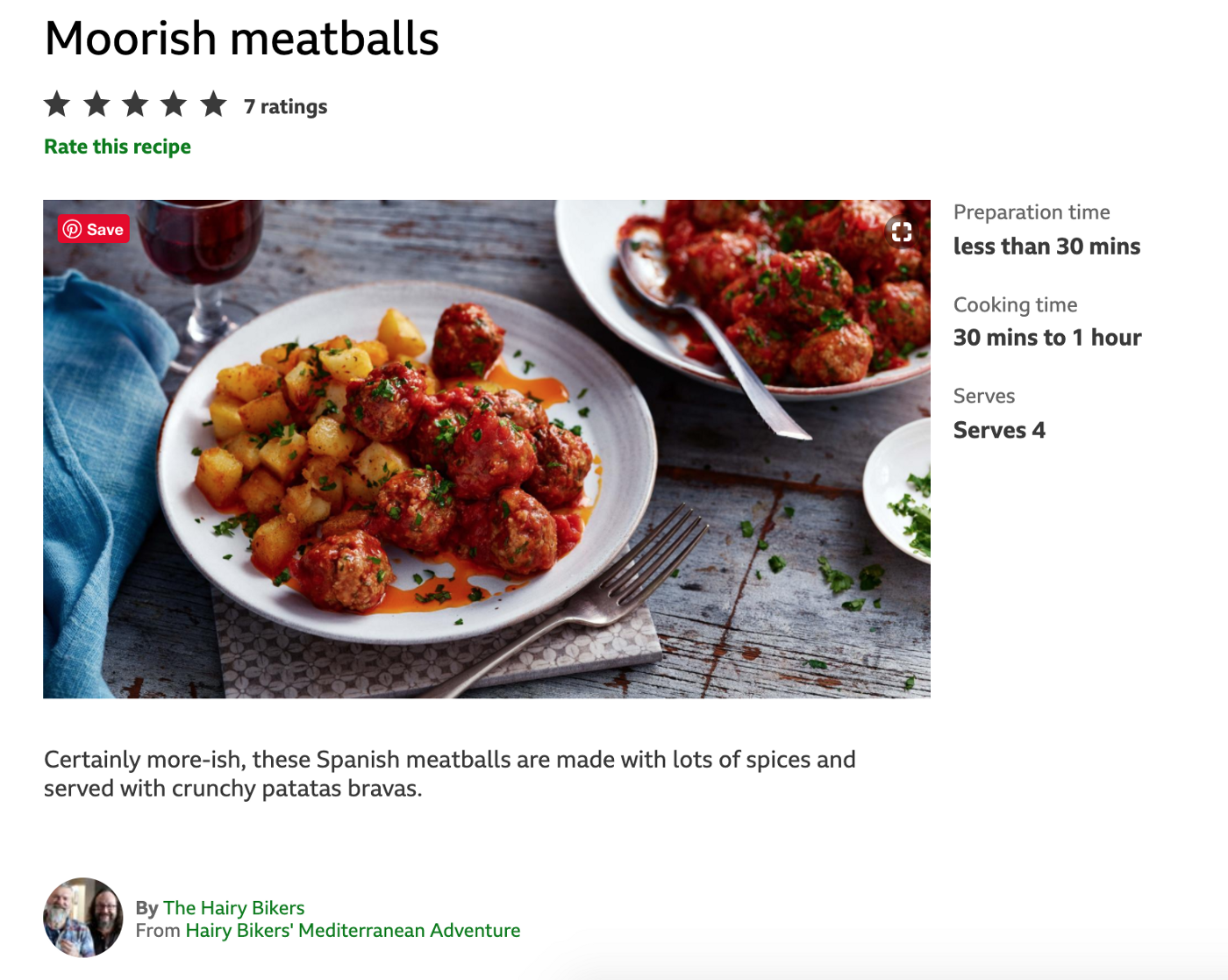 Screenshot of BBC's Moorish Meatball Recipe