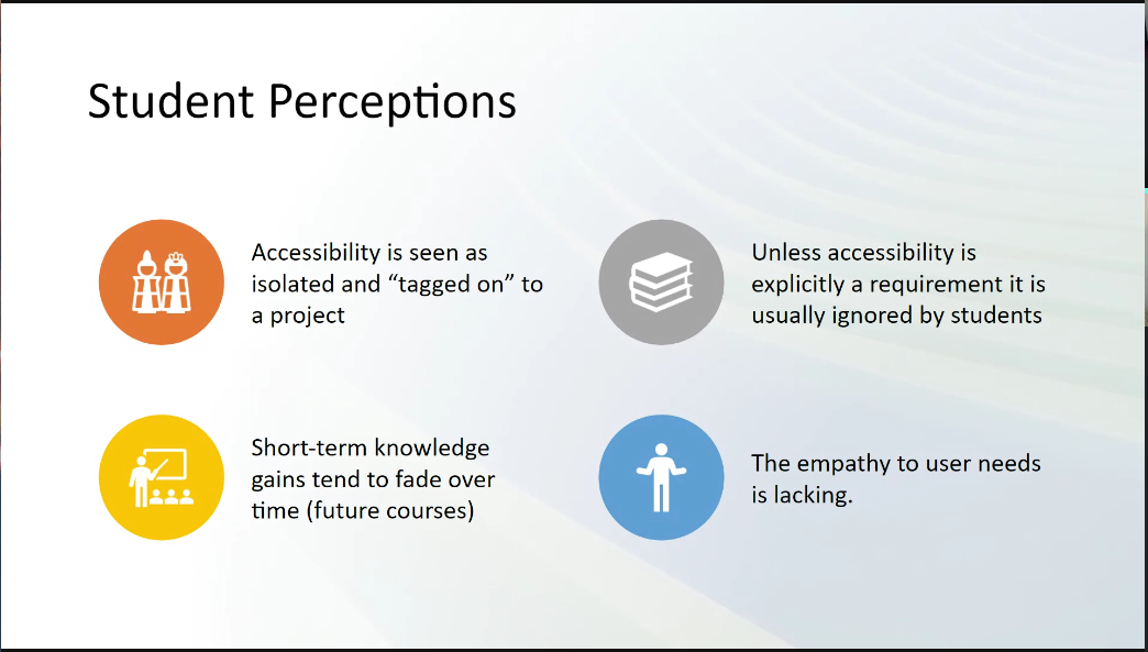 A screencap of a slide from Stephanie's presentation, with four findings of student perceptions. Text on slide in caption.