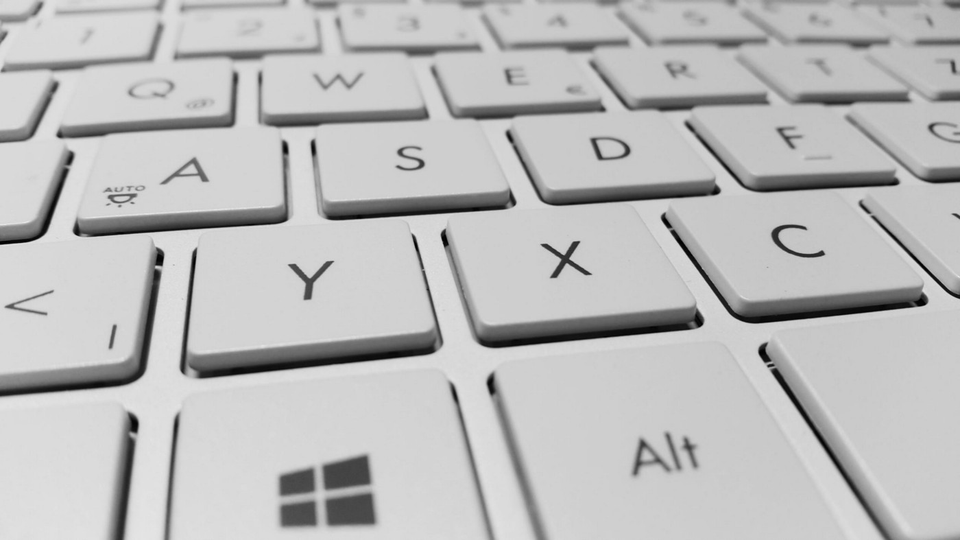 A zoomed in image of a computer keyboard