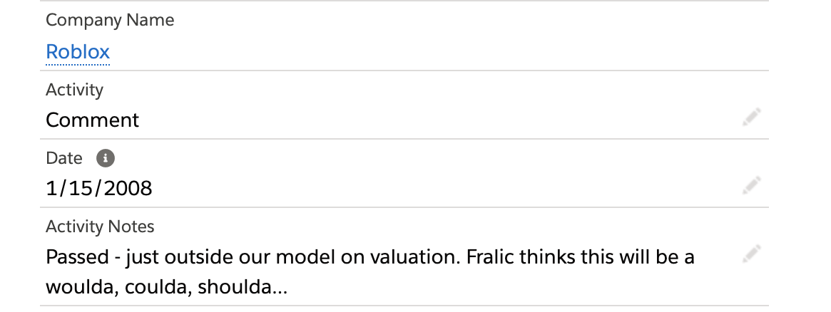 A screenshot from our notes in 2008 in First Round's Salesforce account.