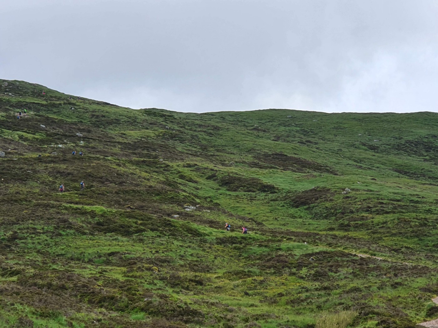 Grassy mountain with people hiking up it.