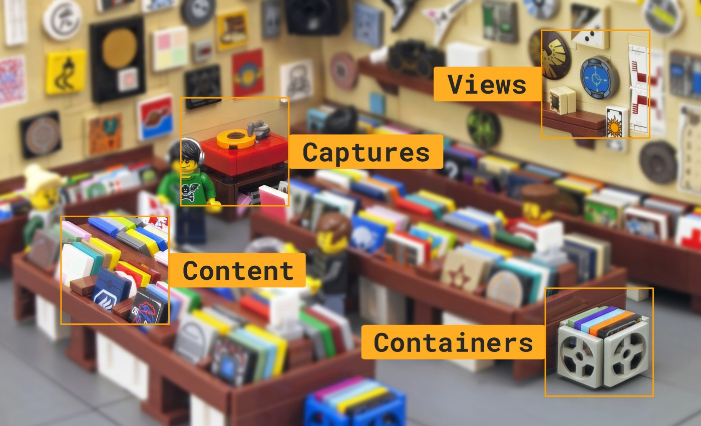 Music shop made in lego with list of blocks overlay