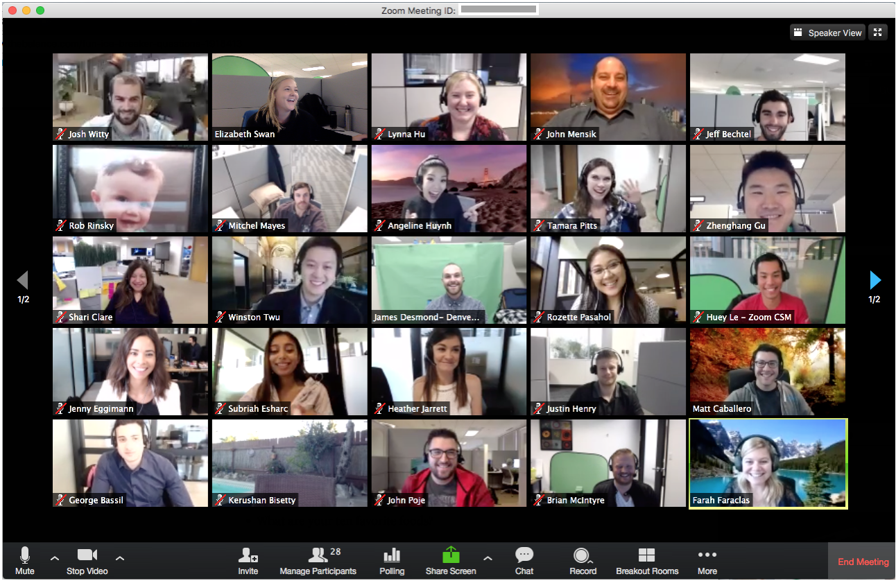 Several participants on a video conference in Zoom
