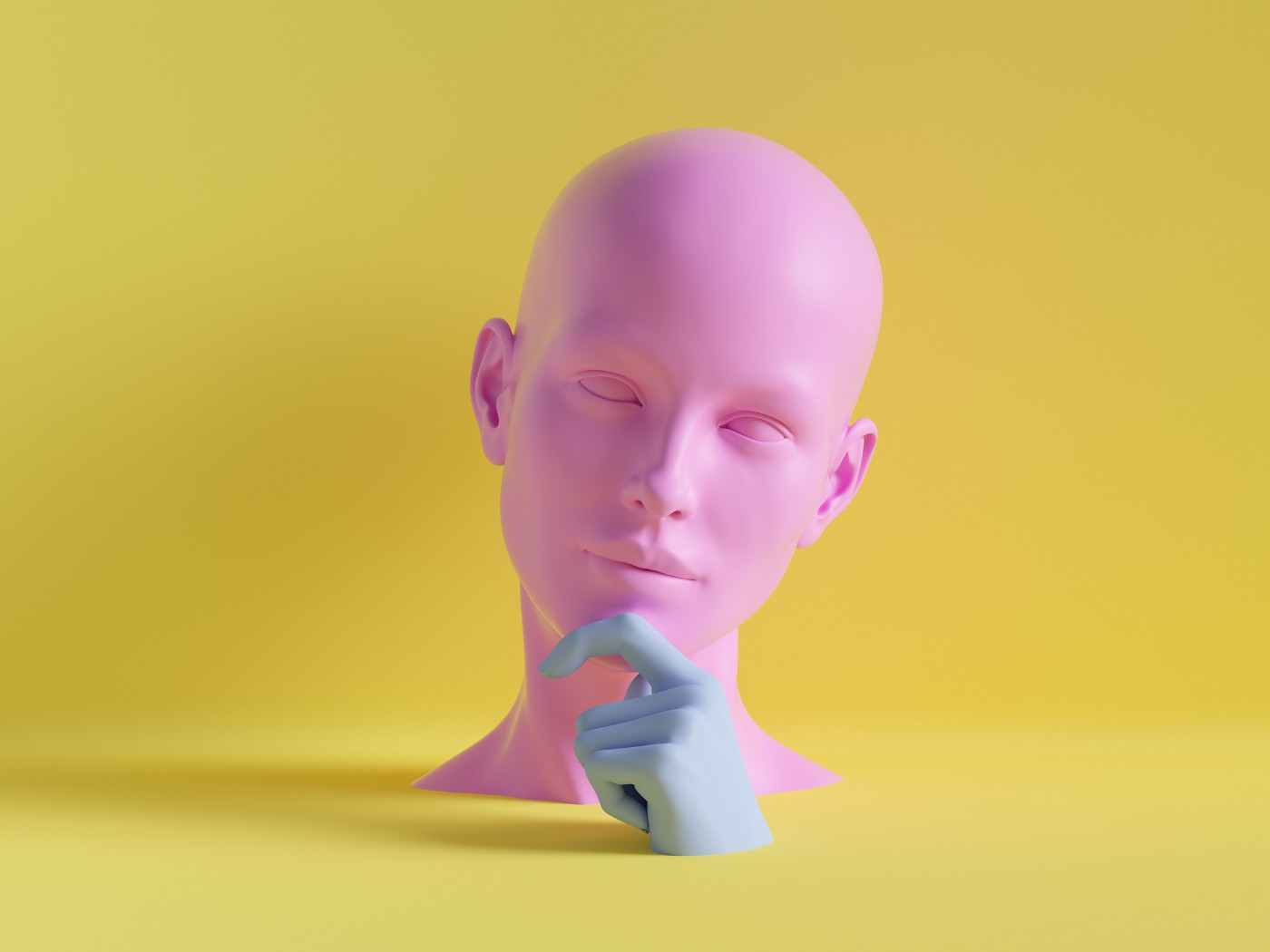 A 3D render of a human face with a finger on its chin, contemplative pose.