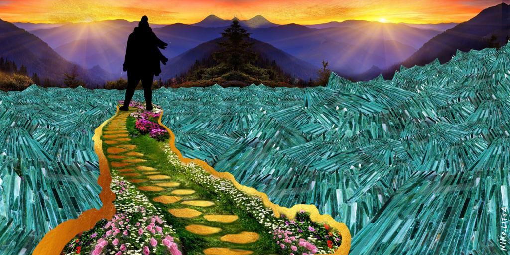 Shadow of a person standing on a grass & flowered lined path gold steps in a sea of blue glass with purple mountains & sunris