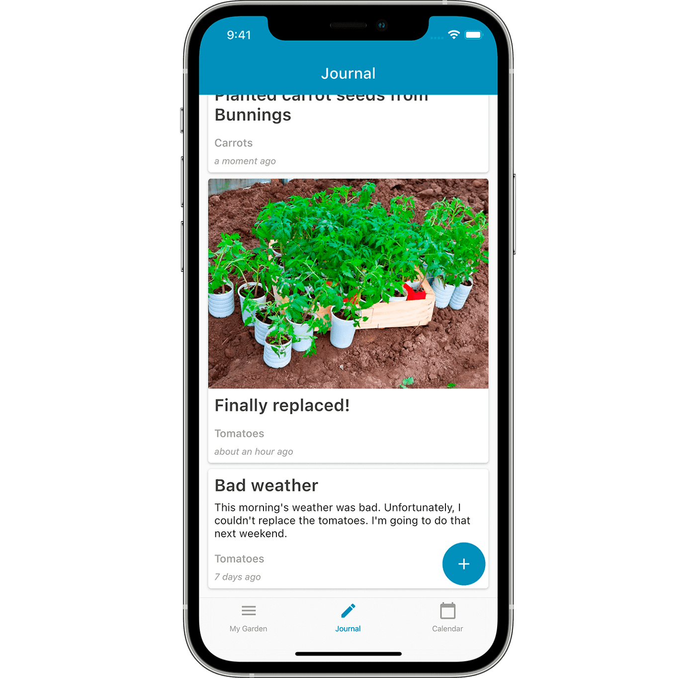 The journal screen in Leafarise mobile app for gardeners