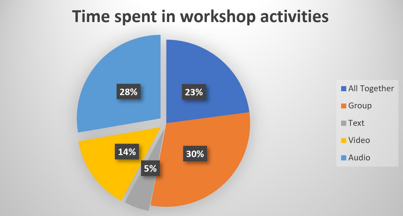 Pie chart of time spent on workshop activities: 30% small group, 28% audio, 23% all together, 14% video, 5% text