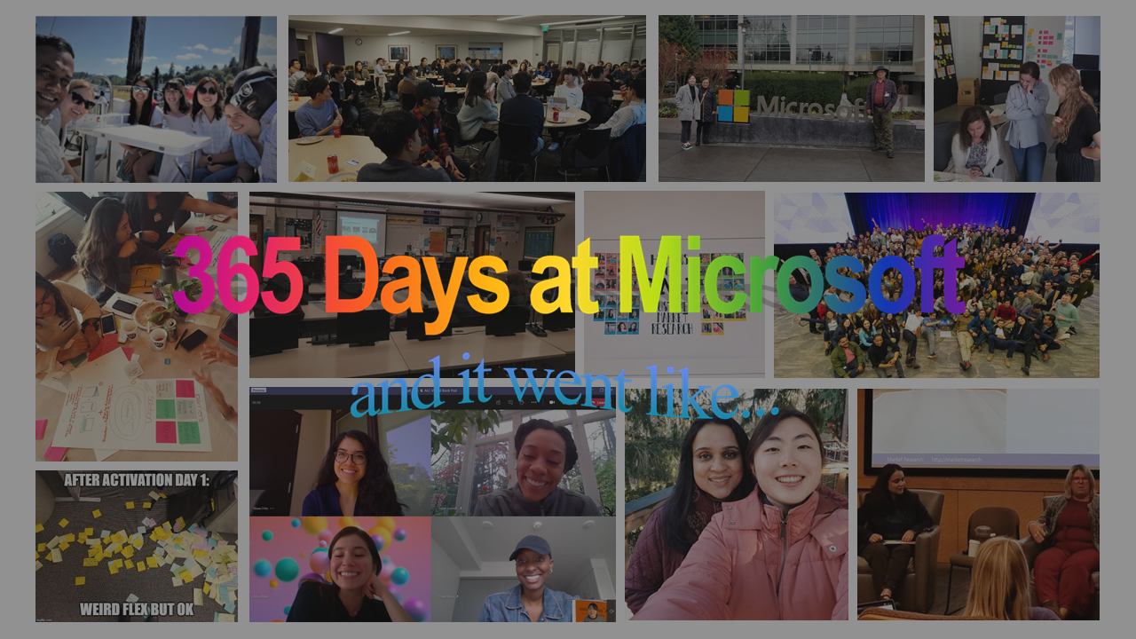 "Collage of images from first year at Microsoft with text ""365 days at Microsoft and it went like…"""