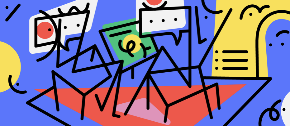 A colourful, somewhat abstract illustration with lines and stick figures suggesting a conversation between two people.