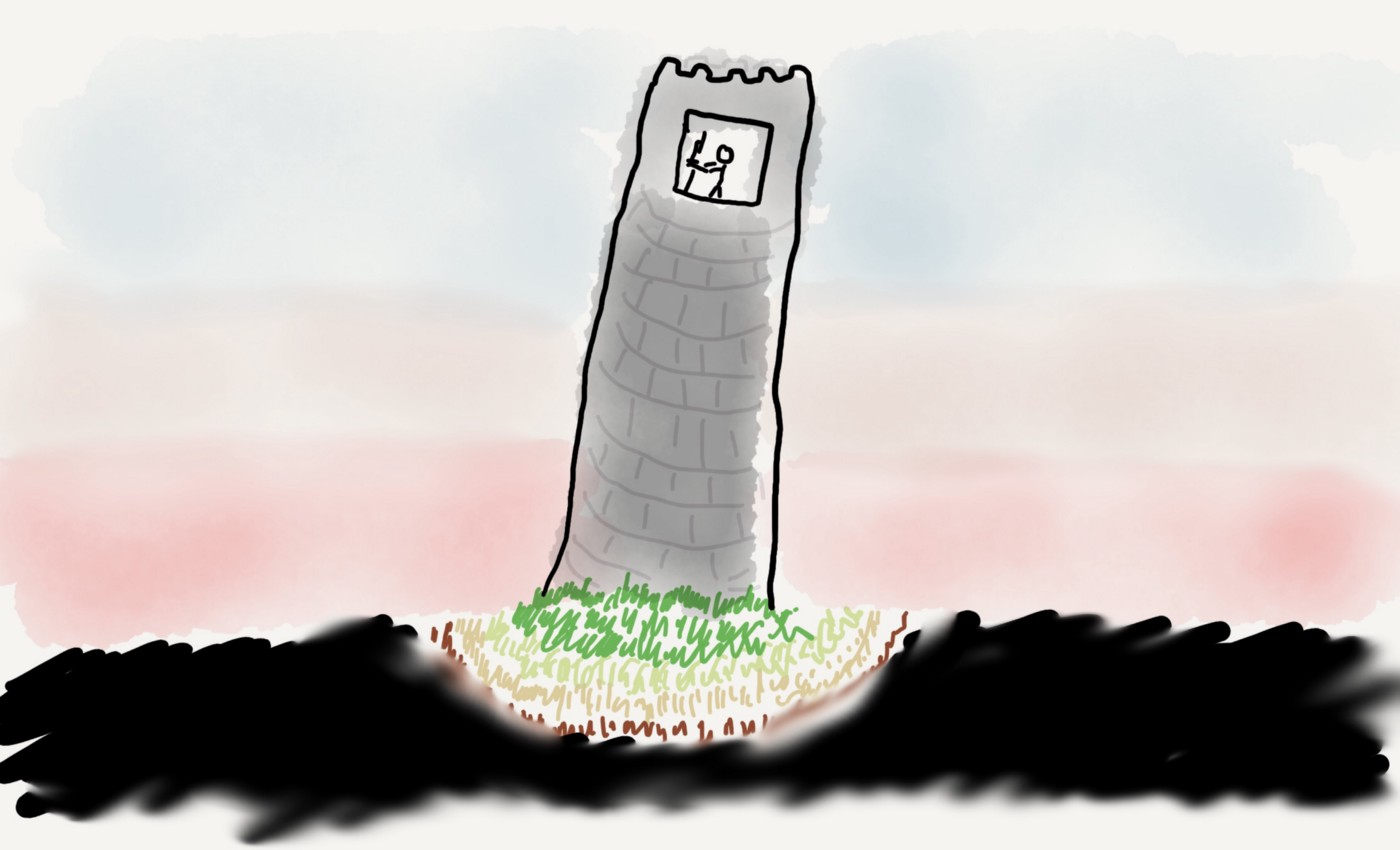 An illustration of a grey slanted tower with a stick figure working in front of a screen in the top. The background fades from blue on the top to red on the bottom; the grass at the foot of the tower fades from green to yellow to brown, to black.