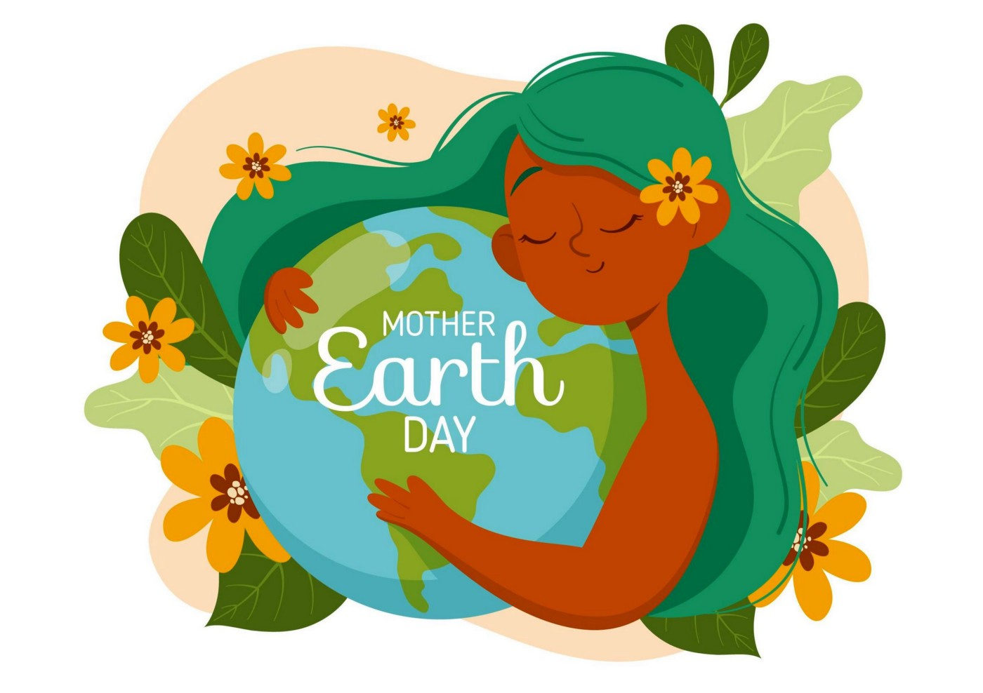 Illustration for Mother Earth Day—A girl with green hair hugging the planet