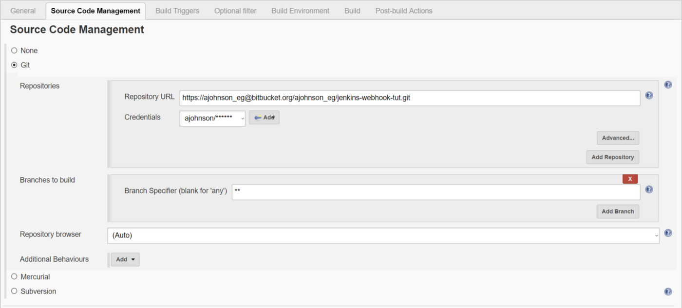 Triggering Jenkins from a push to a specific branch (Bitbucket)