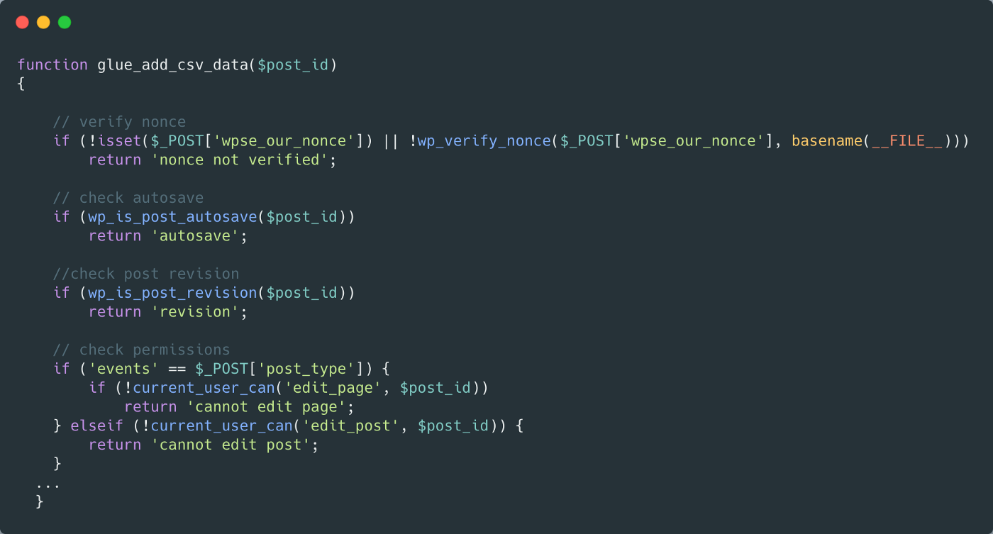 A snippet of code which shows adding security checks to a wordpress function—full copyable code at the end of the article