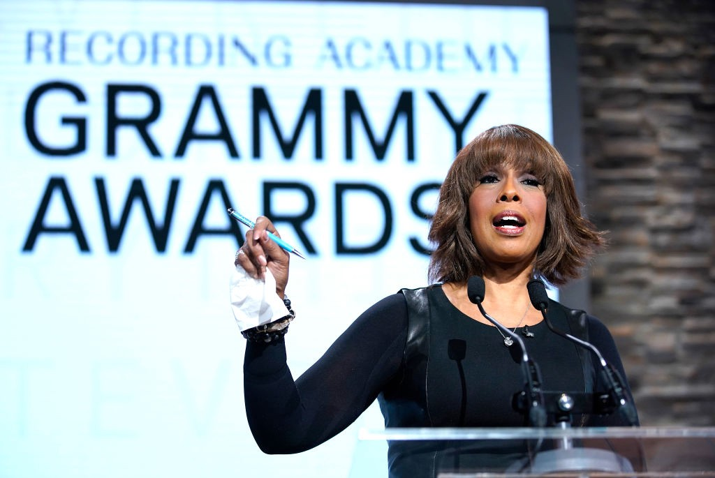 A photo of Gayle King speaking at the Grammy Awards Nominations in November 2019.