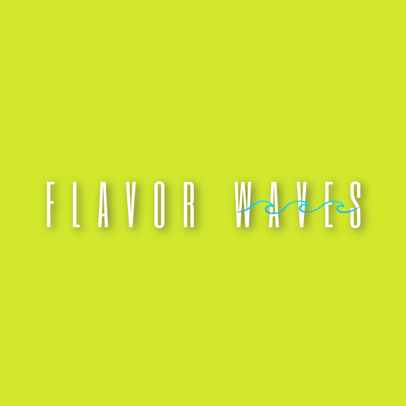 "Flavor Waves Playlist logo (""FLAVOR WAVES"" in neon with WAVES covered in thin blue waves)"