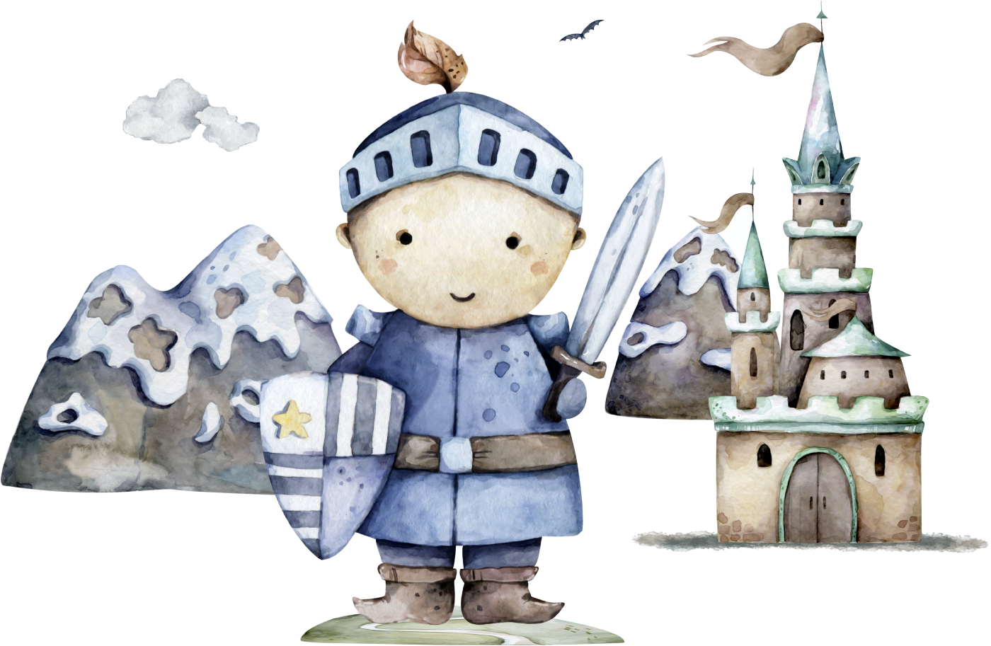 Watercolour picture of armed  knight and castle