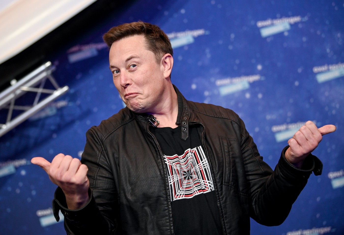 SpaceX owner and Tesla CEO Elon Musk poses on the red carpet of the Axel Springer Award 2020
