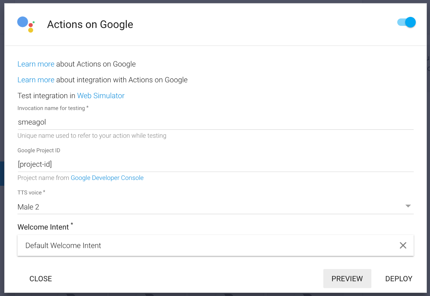 How to create a custom private Google Home Action with API AI and