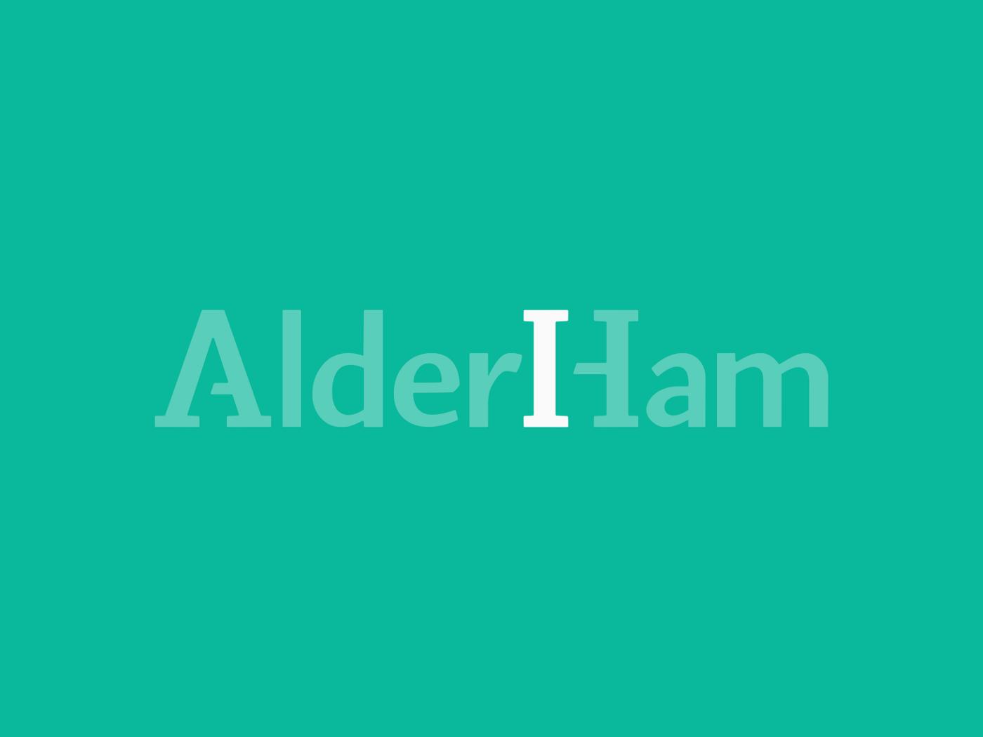 AlderHam Logo on Green With Faded Text!