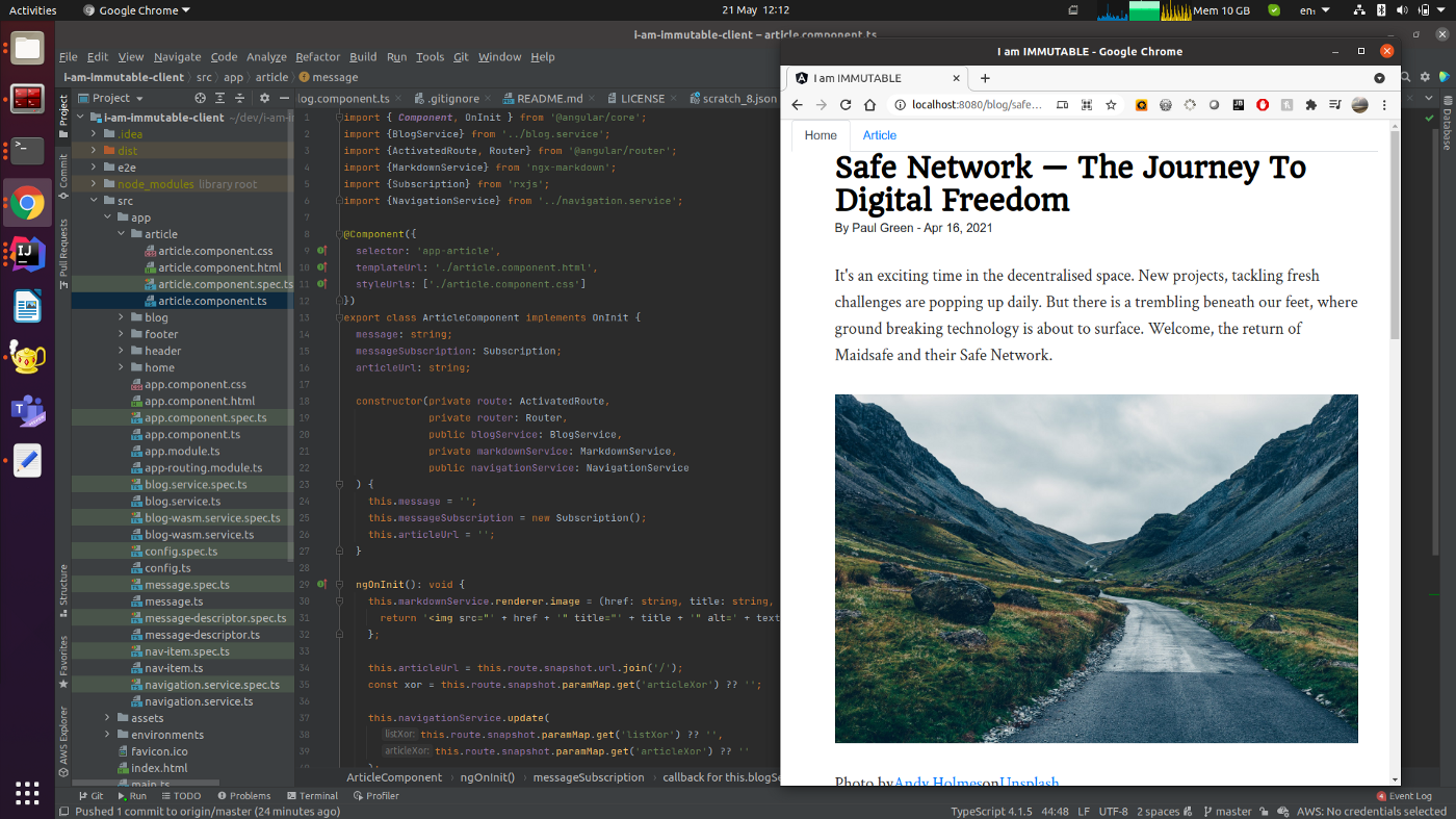 IMIM client code and blog in a web browser
