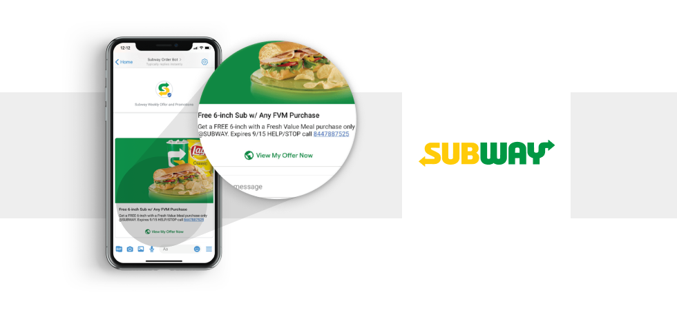 Chatbot Example for eСommerce: Subway's RCS Chatbot