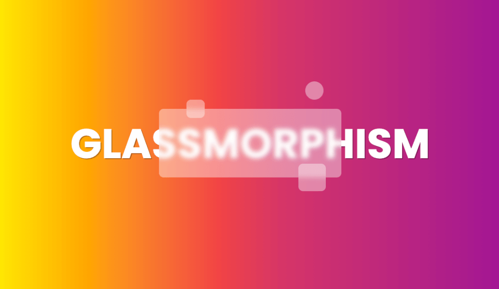 "a vivid, multi-coloured pastel screen on which part of the word ""glassmorphism"" is transparent"