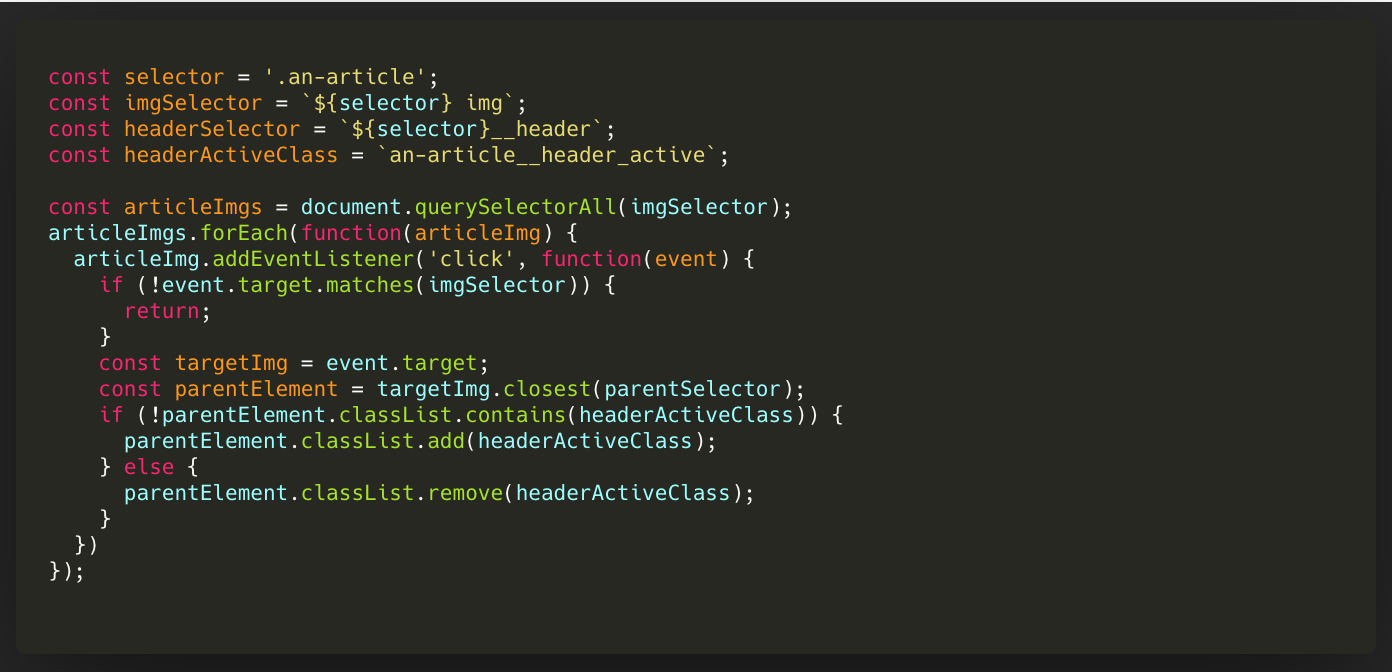 Vanilla JS. AddEventListener, querySelector and closest   by ...