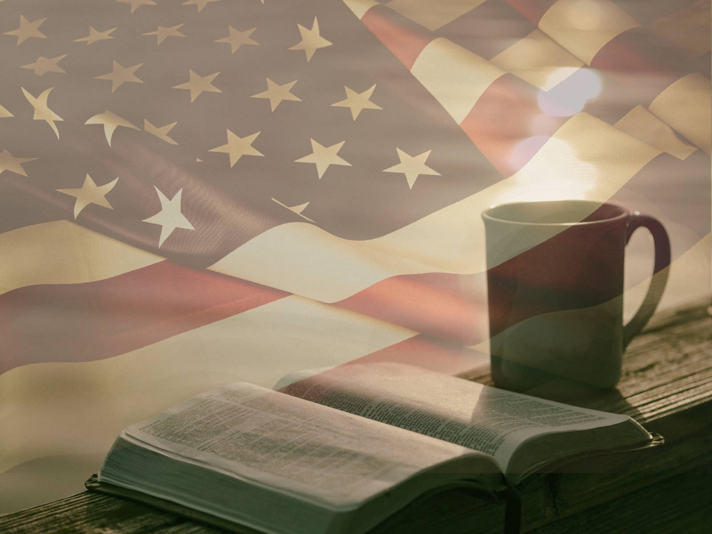 The Bible with the American flag