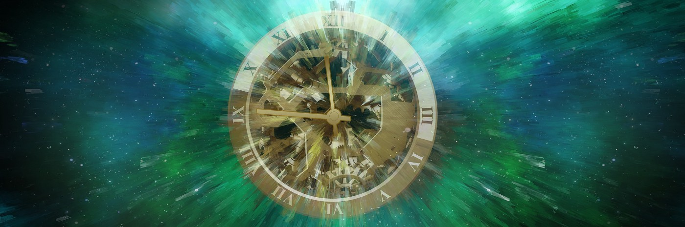 A clock face suspended in outer space registers quarter to twelve on its roman numerals.