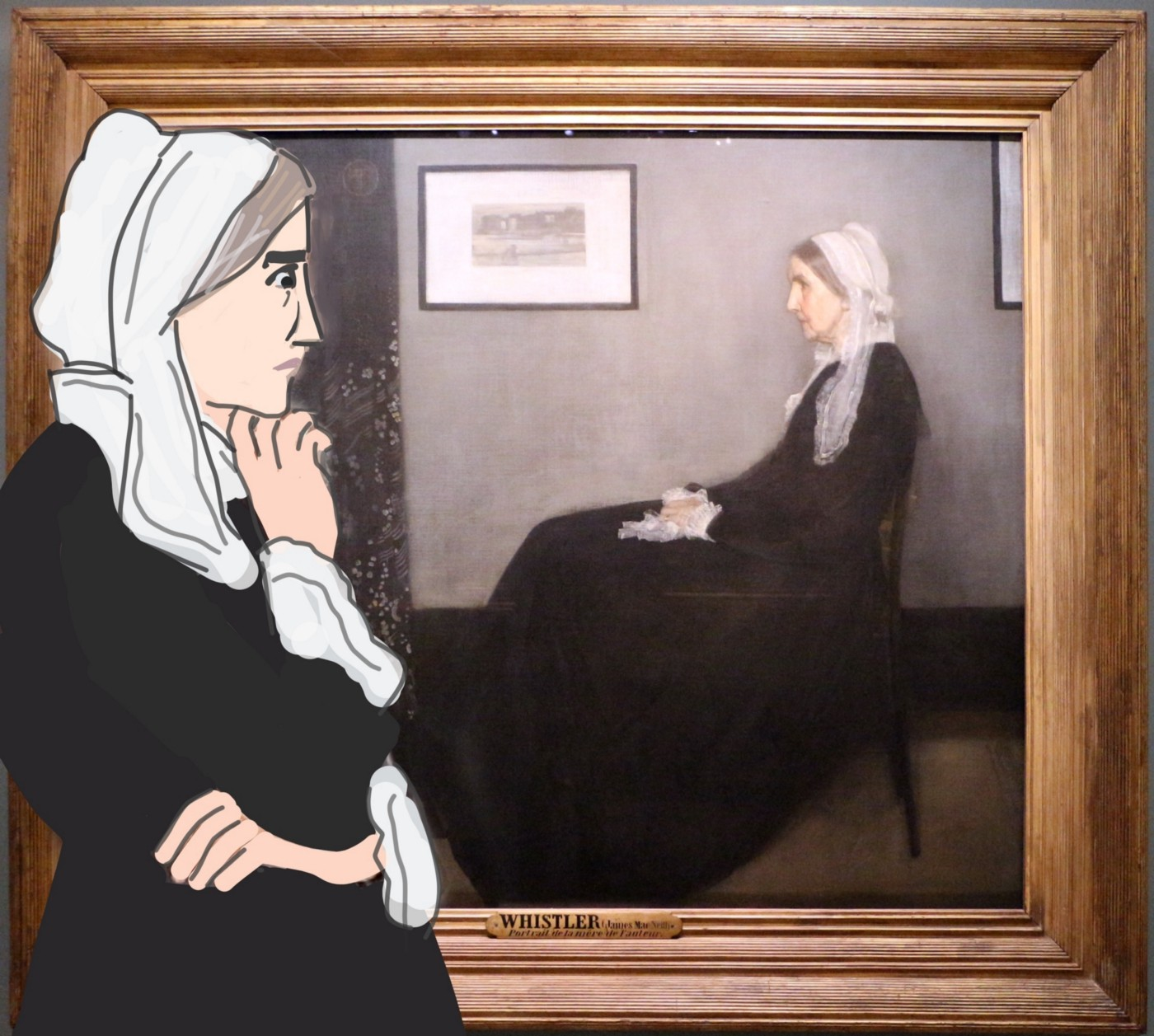 Cartoon version of Whistler's Mother inspecting painting