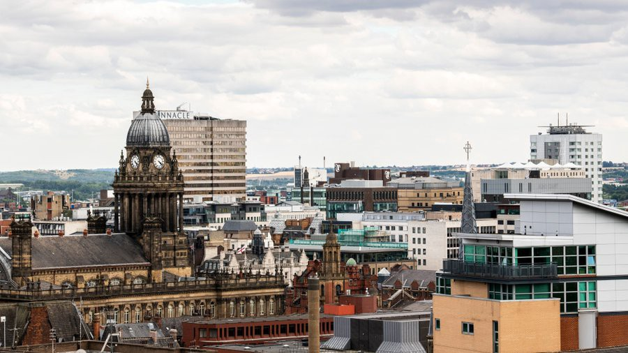 Leeds skyline on a cloudy day