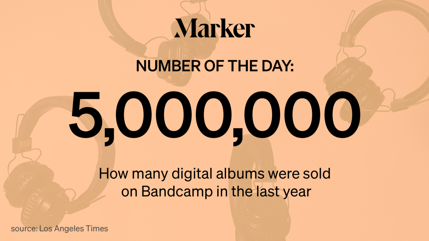 Marker Number of the Day: 5 million — How many digital albums were sold on Bandcamp in the last year (Source: LA Times)