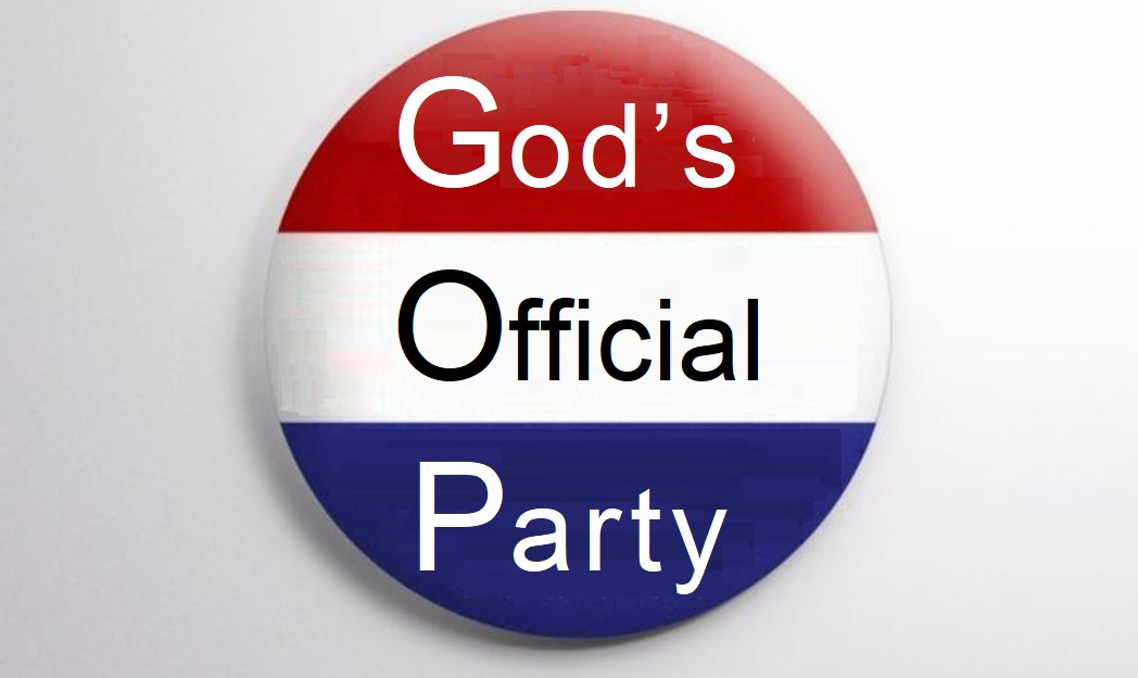 "Political button saying ""God's Official Party"""