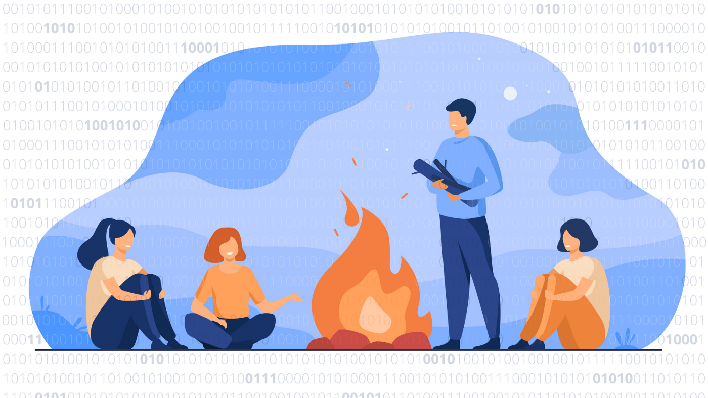 Illustration of people sitting around a fire, talking. In the background is binary code.