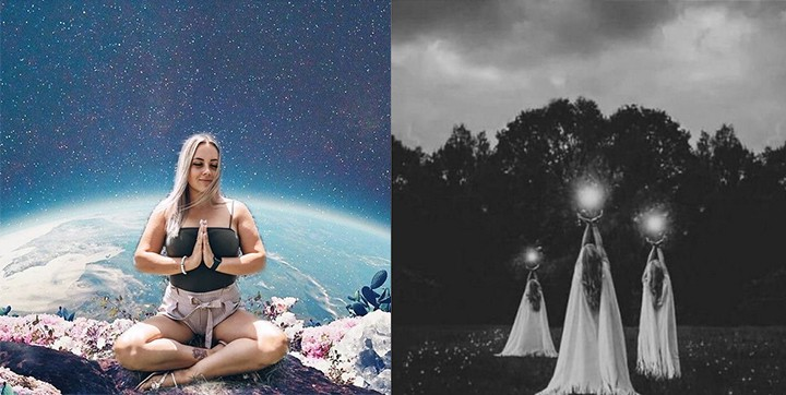 Left: A woman meditates in space. Right: three robed figures hold balls of light to the sky.