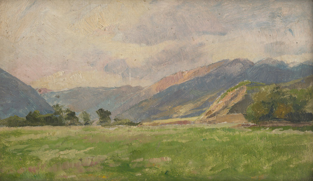 Painting of grassland before mountains