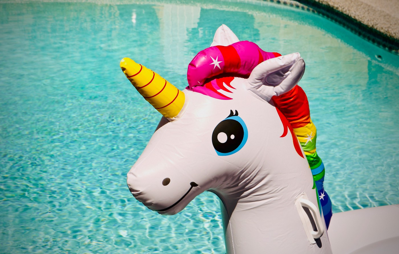 Picture of an inflatable unicorn at the pool.