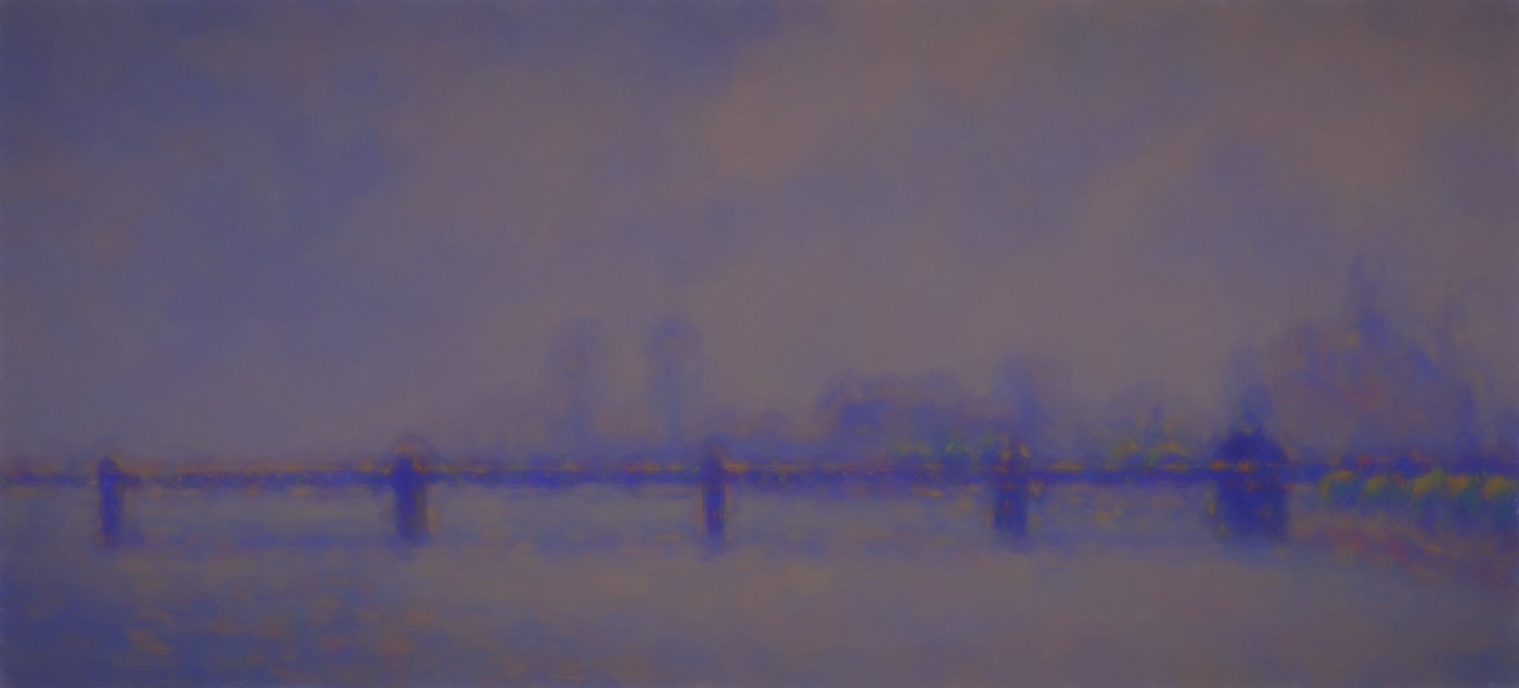 A bridge under a purple sky—a painting similar to Monet's Charing Cross Bridge series in this case under a twilight effect.